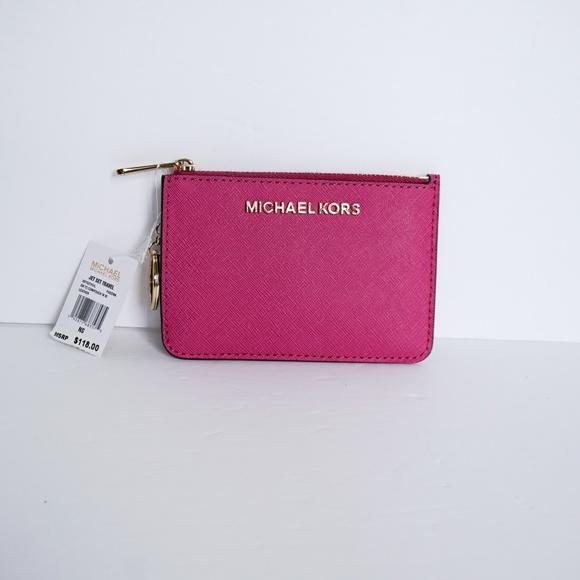 Michael Kors Handbags - Michael Kors Jet Set S Coin Pouch Wallet Fuschia